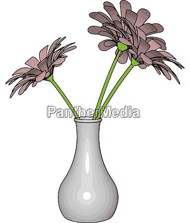 white vase with flowers illustration vector