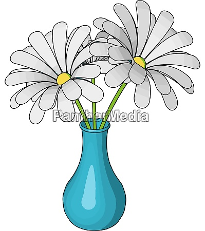 blue vase with flowers illustration vector