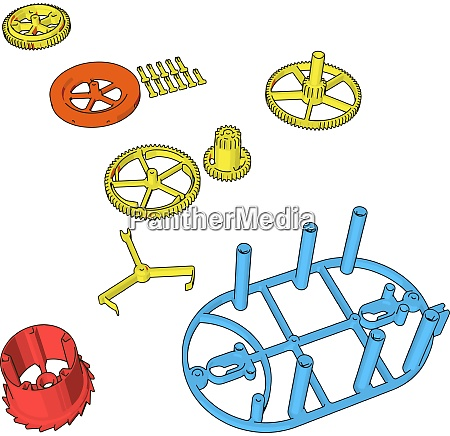 disassembled pieces illustration vector on white