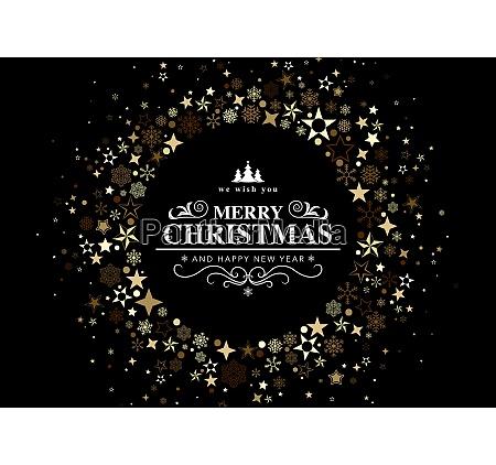 black christmas card with a circular