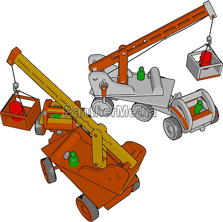 red and white construction vehicles toy