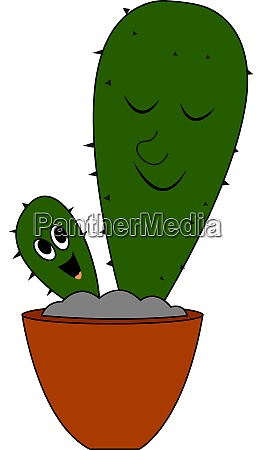 baby cactus illustration vector on white