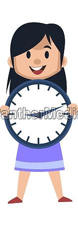 girl with big clock illustration vector