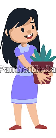 girl holding a plant illustration vector