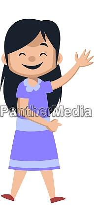 happy girl waving illustration vector on