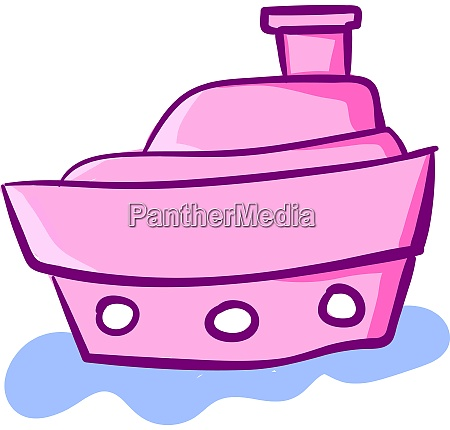 pink cute ship on water illustration