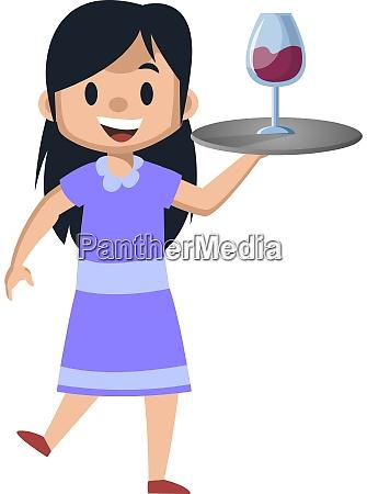 girl serving wine illustration vector on