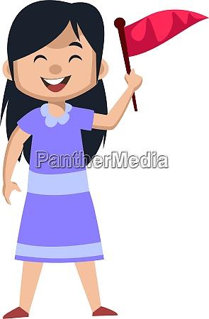 girl holding red flag illustration vector