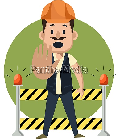 man on construction yard illustration vector