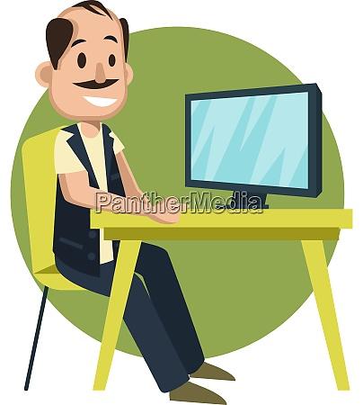 man watching tv illustration vector on