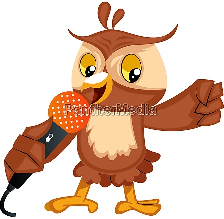 owl singing on microphone illustration vector