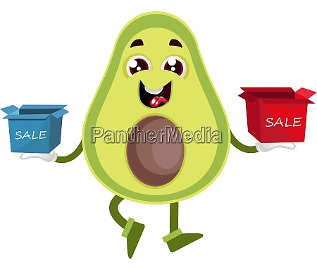 avocado with box sale illustration vector