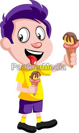boy with ice cream illustration vector