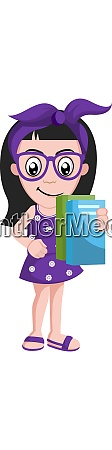 girl with books illustration vector on