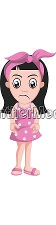 sad girl with pink ribbon illustration