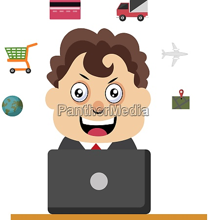 man working at the desk illustration