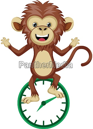 monkey with clock illustration vector on