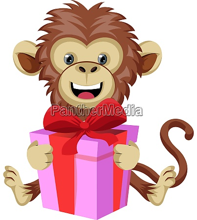monkey with birthday present illustration vector