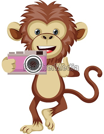 monkey with camera illustration vector on