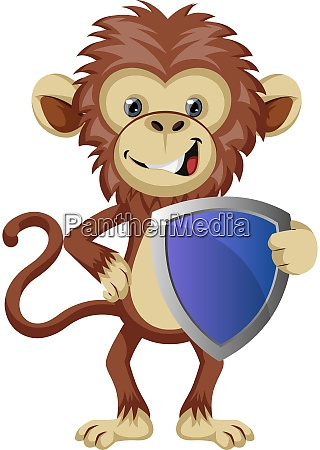 monkey with shield illustration vector on
