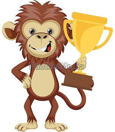 monkey holding trophy illustration vector on