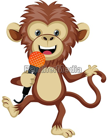 monkey with microphone illustration vector on