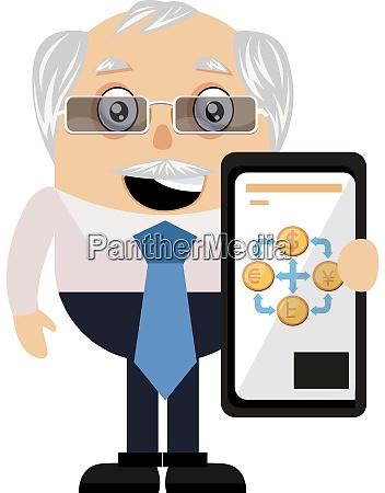 old man with selfphone illustration vector