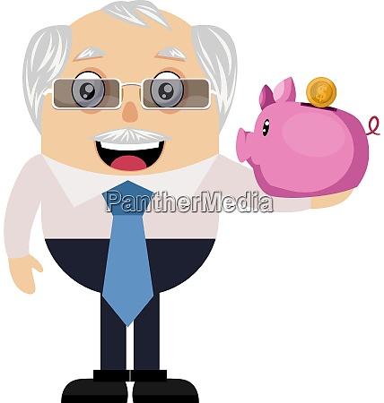 old man with piggy bank illustration