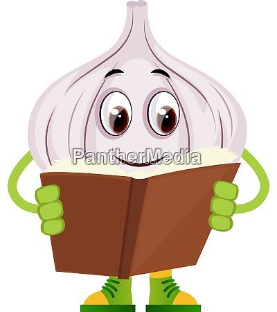 garlic reading book illustration vector on