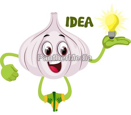 garlic having idea illustration vector on