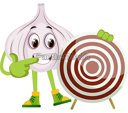 garlic with target illustration vector on