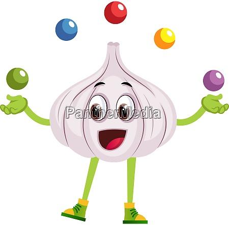 garlic juggling illustration vector on white