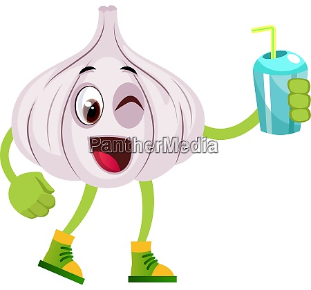 garlic with water illustration vector on