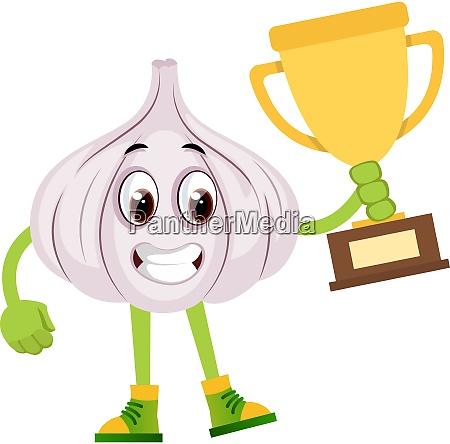 garlic holding trophy illustration vector on