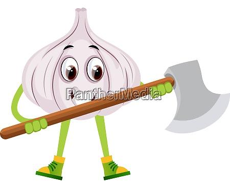garlic with big axe illustration vector