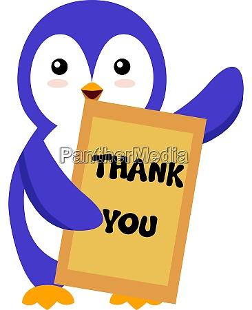 pinguin mit dankeschoen zeichen illustration vektor