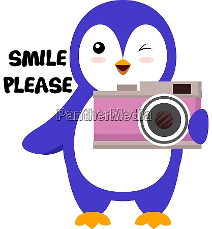 penguin with camera illustration vector on