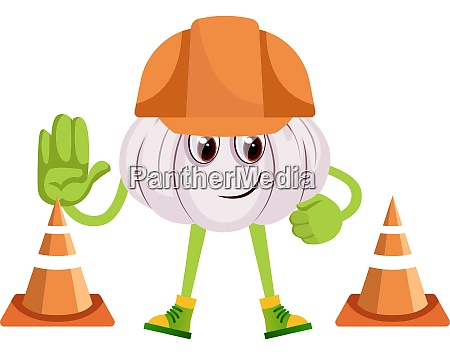 garlic at construction yard illustration vector