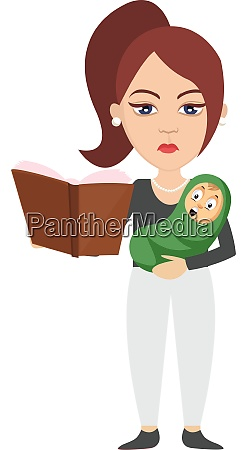 woman with baby illustration vector on