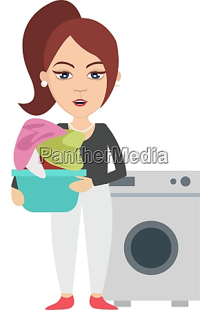 woman with washing machine illustration vector
