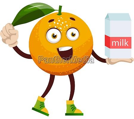 orange with milk illustration vector on