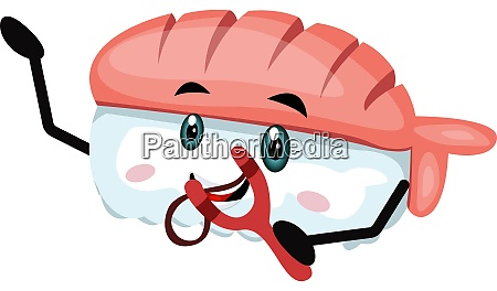 sushi with spring shot illustration vector