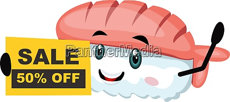 sushi with sale sign illustration vector