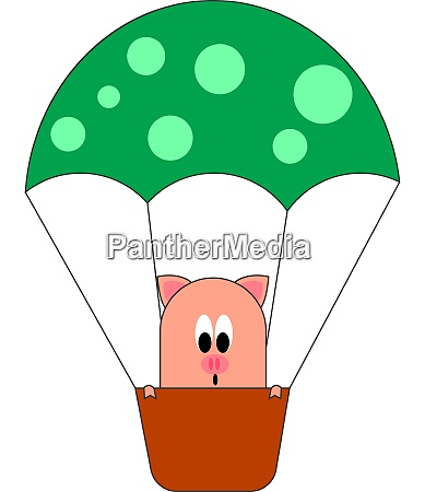 pig in hot air balloon illustration