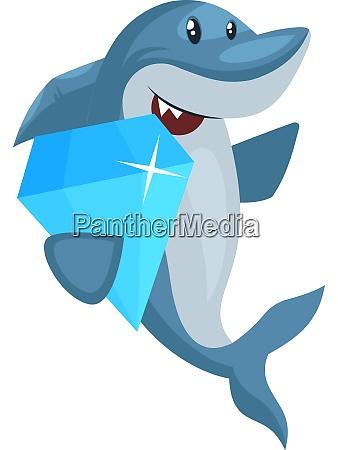 shark with diamond illustration vector on