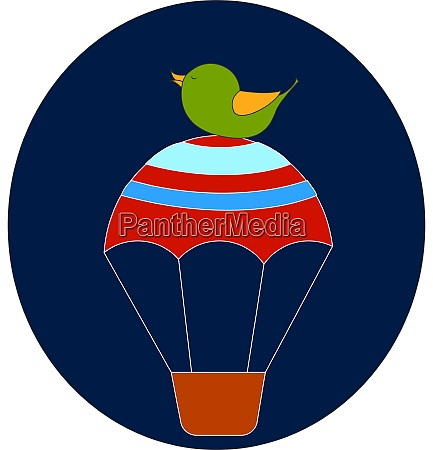 vogel sitzt auf heissluftballon illustration vektor