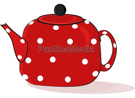 red teapot illustration vector on white
