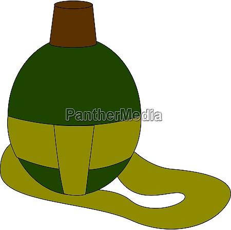 military green flask illustration vector on