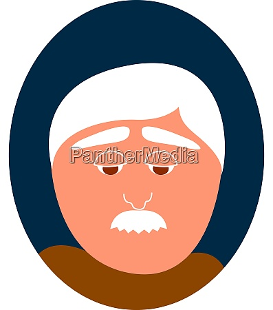 old man with mustache illustration vector