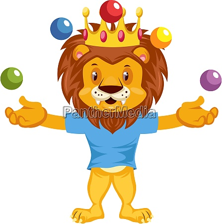 juggling lion illustration vector on white
